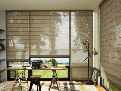 Office with Motorized Blinds